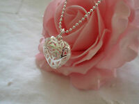 VINTAGE STERLING SILVER 3D PUFFY HEART PENDANT CHARM on BALL CHAIN NECKLACE