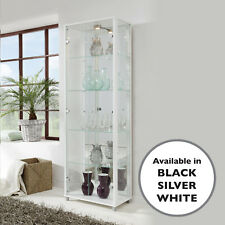 HOME Tall White 2 Door Glass Display Cabinet - Double - 4 Shelves