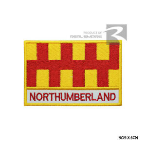 NORTHUMBERLAND County Flag with name Iron On Sew On Embroidered Patch Badge