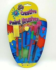 ARTBOX SET OF 5 CREATIVE PAINT BRUSHES ARTS AND CRAFTS BRUSHES AND SPONGES KIDS
