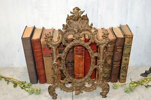 Antique French Style Gilded Bronze Finish Frame Acanthus Scrolls Easel Back