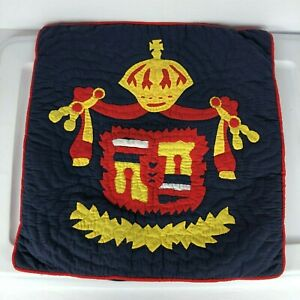 """Spain Flag Decorative Pillow Case Quilted Hand Made Blue 16""""x16"""""""