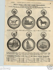 1900 PAPER AD Pocket Watch Cases Fire Engine Steamboat Locomotive Railroad Dog