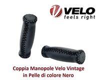 Coppia Manopole Velo Vintage in Pelle colore Nero per Bici 20-24-26 Fat Bike
