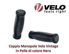 Coppia Manopole Velo Vintage in Pelle colore Nero per Bici 20-24-26 Pieghevole