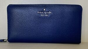 New Kate Spade New York Sam Large Continental Leather wallet River Blue