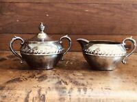 Vintage Sheridan Silver on Copper Creamer & Sugar Bowl With Lid Set