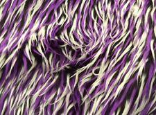 White Purple Black 3 Tone spike Faux Fur Custom Upholstery Fabric by the yard