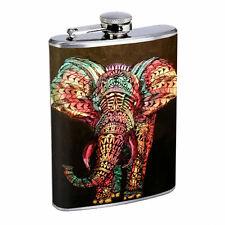 ELEPHANT ART ILLUSTRATION D 3 STAINLESS STEEL 8oz FLASK WHISKEY DRINKING
