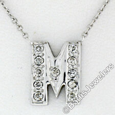 "14K White Gold 16"" .22ctw Round Pave Diamond Petite Initial M Pendant Necklace"