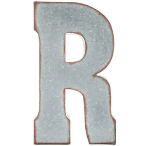 "20"" Silver Galvanized Vintage Metal Letter & Marquee ""R"". Industrial Style ."
