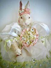 Gorgeous Bunny White Rabbit Doll Ceramic Head Soft Plush Organza Floral Dress