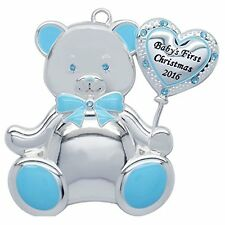 Harvey Lewis Baby's First Christmas 2016 Ornament Swarovski Blue Baby Bear New