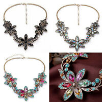 Fashion Women Chunky Crystal Flower Statement Bib Chain Choker Pendant Necklace