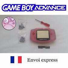Coque GAME BOY ADVANCE clear rose pink NEUF NEW + tournevis -étui shell case GBA