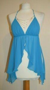 Blue Diamonte Babydoll Chemise G-String Lingerie Open Front  L XL VACARI Petal