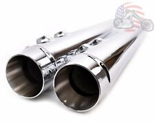 "4"" Chrome Megaphone Slip-On Mufflers Exhaust Pipes 1995-2016 Harley Touring"