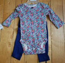 Nwt Baby Girl Carters Long Sleeve Bodysuit Pants Floral Cat Outfit Size 6M