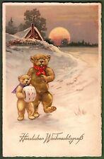AK, 2 Teddybären in der kalten Weihnachtsnacht unterwegs- blanco- ca. 1935- TOP*