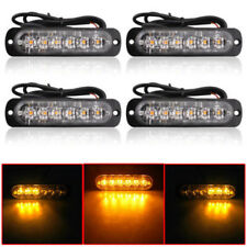 4pc Amber 6 LED Car Truck Emergency Beacon Warning Hazard Flash Strobe Light Bar