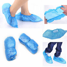 100x Blue Disposable Shoe Covers Anti-slip Plastic Cleaning Overshoes Waterproof