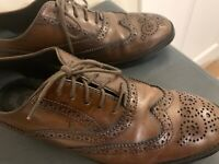 TOD'S Women Wingtip Oxfords Size EU 36/US 5.5M Brogued Brown Leather Shoes Italy