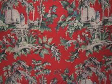 "Lee Jofa ""Wishful Thinking"" Chinoiserie fishermen by the yard color red"