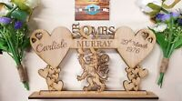 Scottish Lion, Hearts, Personalised, Mr & Mrs, Table Centre Piece, Wedding Stand