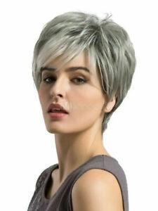 100% Human Hair Natural Short Straight Gray Fashion Women's Wig