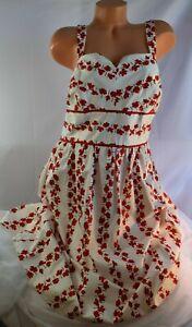 R & K (18W 1X) Sundress WHITE RED Floral Print Stretch Cotton Midi Empire Waist