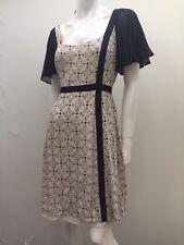 Leona By Leona Edmiston sz 12 Beige & Black Floral Ruffle Sleeve Dress