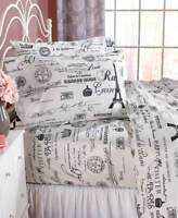 Vintage Paris Eiffel Tower Printed Sheet Set Twin Full Queen or King Bedding