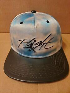 Jordan Flight Cloud Blue & White with Black Leather Bill Snapback Hat