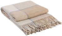 Wolldecke 200x220cm Plaid Wohndecke Tagesdecke Decke 65%Wolle Beige-Weiß