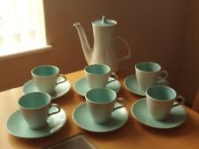 Poole Pottery Twin Tone Ice Green + Seagull Tea/Coffee Pot & X6 Cups & Saucers.