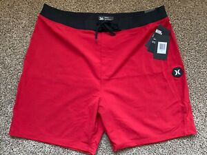 BRAND NEW HURLEY PHANTOM HYPERWEAVE RED SOLID MENS BOARD SHORTS 36 x 18