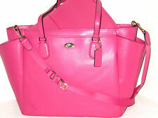 Coach Multi function Laptop Baby Diaper Bag Dahlia Pink Leather F35702 NWT $495