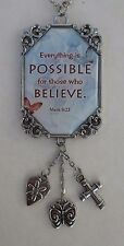 r Everything is possible believe SCRIPTURE Car Charm Rear View Mirror Ornament