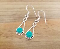 925 Sterling Silver - Semi-Precious Tear Drop Gemstone Hook Earrings - Set-AA2