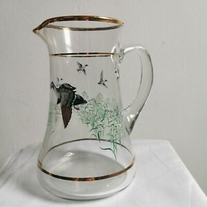 Vintage Water / Cocktail Jug Flying Duck Gold Rim