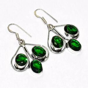 """Gorgeous Chrome Diopside 925 Sterling Silver Jewelry Earring 1.5"""""""