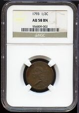 1793 Liberty Cap Half Cent Penny NGC AU58 BN Certified - MM241