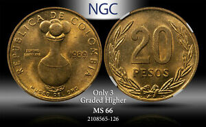 1989 COLOMBIA 20 PESOS VASE NGC MS66 ONLY 3 GRADED HIGHER