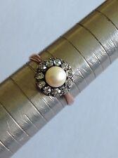 Pretty Antique Victorian 9ct Gold Diamond & Pearl Set Daisy Cluster Ring
