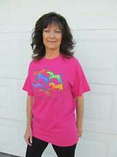 Laurel Burch Painted Ponies Horses Pink Short Sleeve Cotton Tee Shirt New Medium