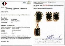 Black Coral T RING, PENDANT & EARRINGS W/ Certificate 1,350 Value
