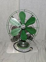 "Rare 6 Blade Diehl Oscillating Fan 110V 60hz Green Cast Iron 3 Speed 21"" Tall"