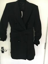 NEW ZARA SIZE XS LADIES BLACK MAC TRENCH COAT WITH BELT RUCHED SLEEVES LINED £95