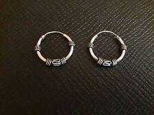 New #18  925 Sterling Silver men women Bali Style Hoop Earring Jewelry 15 mm