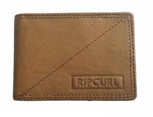 Rip Curl CLIP RFID SLIM WALLET Mens LEATHER Wallet New - BWLHZ1 Tan